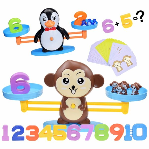 best selling Math Toy Digital Monkey Balance Scale Educational Math Penguin Balancing Scale Number Board Game Kids Learning Toys