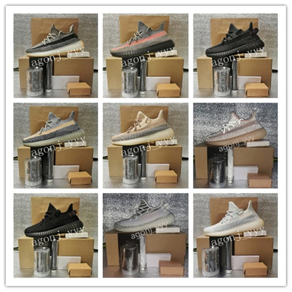 best selling Kanye West Running Shoes Ash Blue Zebra Cinder Tail Light 3M Reflective Israfil Asriel Linen Mens Top Quality Trainers With Box Size From 36-48 Wtih Half .