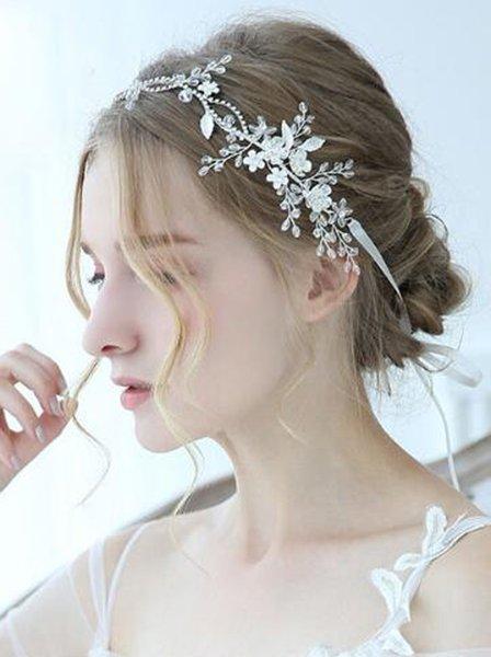 Wedding Silver Crystal Rhinestone Floral Leaf Headband Wedding Hair Vine Bridal Headband Hair Jewelry Wedding Hair accessories