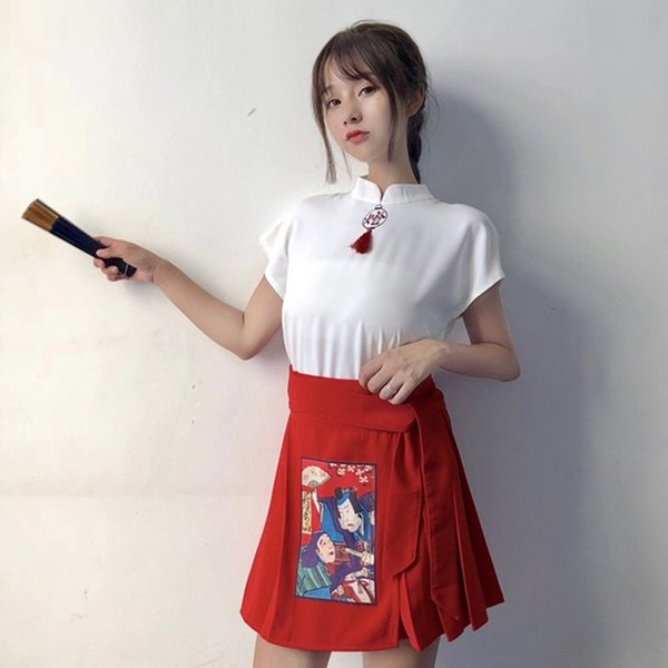 Chinese Style WomenS Clothing Summer Festival Outfit Cheongsam Top+ Short Skirt Stage Outfits Harakuju Cute Outfits 11283 Apparel Ethnic Clothing DIY Clothing Mens Clothing Womens Clothing