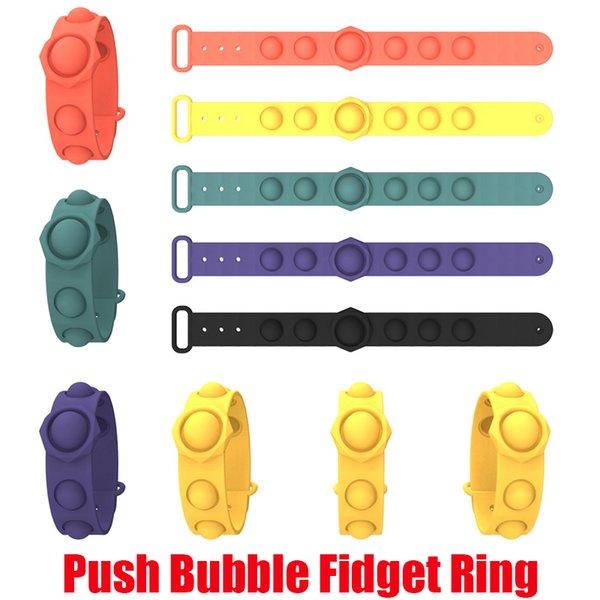 top popular Push Bubble Pop Fidget Bracelets Toys Sensory Ring Decompression Keychain Puzzle Press Finger Stress Bracelet Wristband 2021