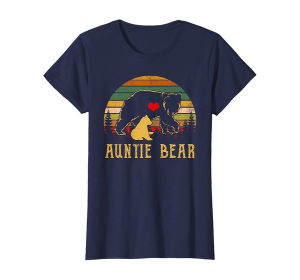 Womens Womens Auntie Bear T Shirt Cute Funny Mom Mothers Day Gifts