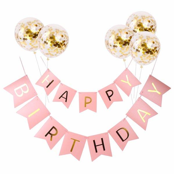 top popular Happy Birthday Banner Pink Gold Paper Garland Boy Girl Favor Christening Decoration First Birthday Boy Party Favors 2021