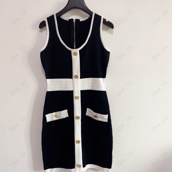 best selling Women's Dresses Casual Knit Dress Contrast Color Sleeveless Summer Fashion Wear Gold Button