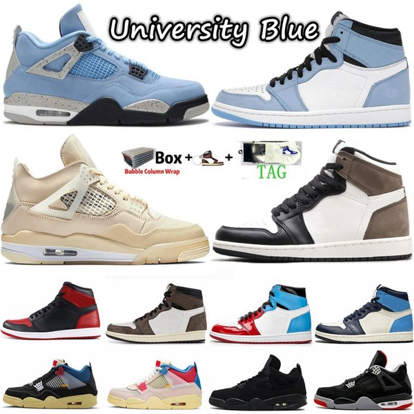 best selling 1 1s Travis Scotts shoes Obsidian UNC University Blue Twist What The Mens Basketball Shoe Black Cat Bred 4 4s Sail Guava Ice Women Sneakers