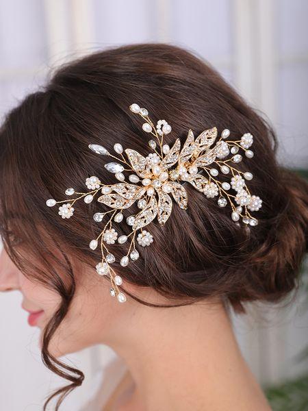 Vintage Gold Wedding Headdress Flower Hair Jewelry Leaf Hair Ornaments Elegant Women Hair Comb Bridal Accessories