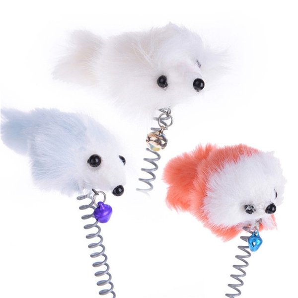 top popular Funny swing spring Mice with Suction cup Furry cat toys colorful Feather Tails Mouse Toys for Cats Small Cute Pet Toys 563 R2 2021