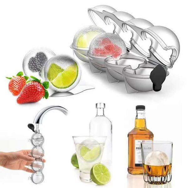 4 Cavity Ice Cube Maker Form for Ice Flexible Silicone Whiskey Cocktail DIY Round Ice Ball Grid Party for Bar Kitchen Tools