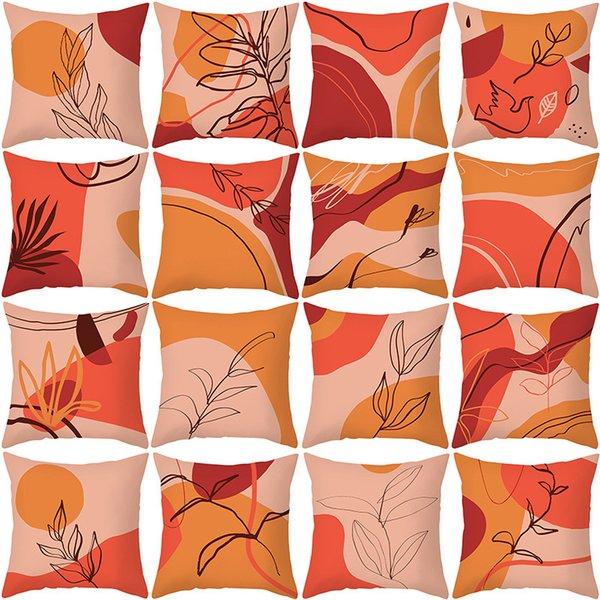 top popular 2021 new peach skin velvet pillow case Morandi geometric abstract sofa pillow case household products cushion 2021
