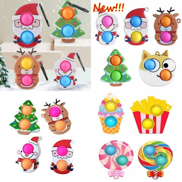 top popular DHL Fast Fidget Toys Cartoon Sensory Bubble Toy Collectable Simple Dimple Antistress Cute Christmas Push for Hands Squeeze Children 2021