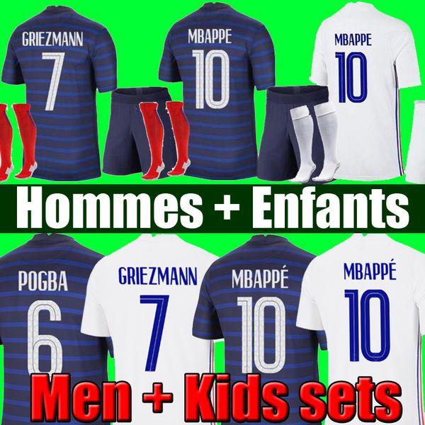 best selling Maillots de football 2021 THAILAND QUALITY MBAPPE GRIEZMANN POGBA 20 21 soccer jersey maillot de foot FEKIR PAVARD kit top shirt hommes enfants MEN + KIDS SETS socks