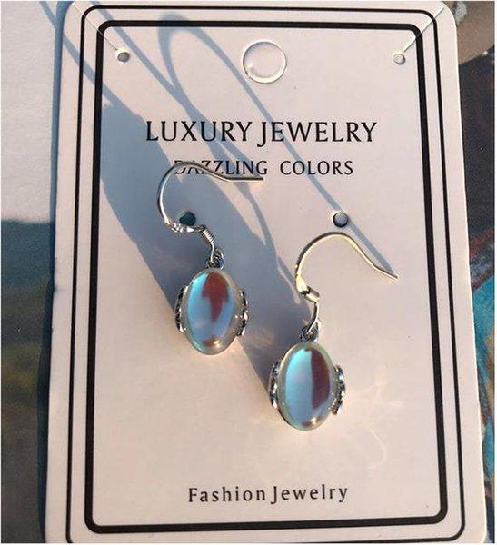 Bolzen Neue 925 Sterling Silber Weibliche Ohrringe Süße Mondstein Opal Ohrstecker Für Frauen Ohr Schmuck
