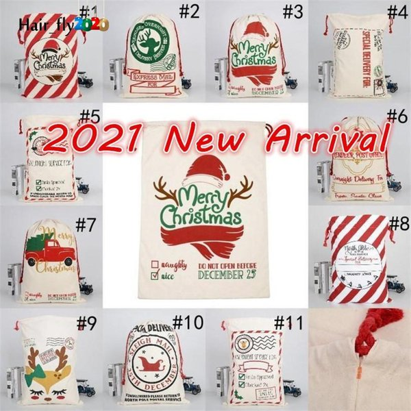top popular DHL Free New 2021 Christmas Santa Sacks Canvas Cotton Bags Large Heavy Drawstring Gift Bags Personalized Festival Party Christmas Decoration HS13 2021