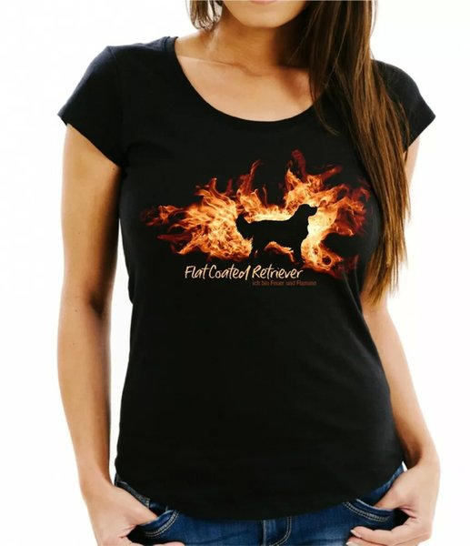 Ladies T-Shirt Flat Coated Retriever fire and flame by siviwonder Dog Motif