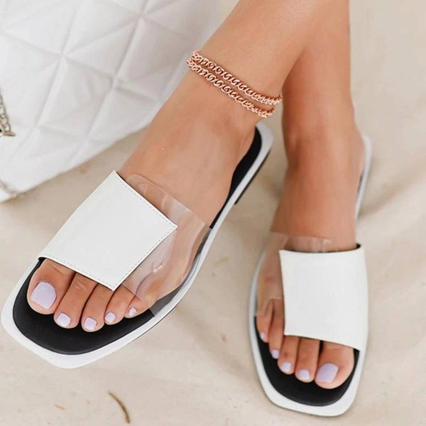 Summer Womens Flat Slippers Ladies Casual Slippers Patchwork Open-toe Flat Ladies Mixed Color Outdoor Beach Flat Slippers