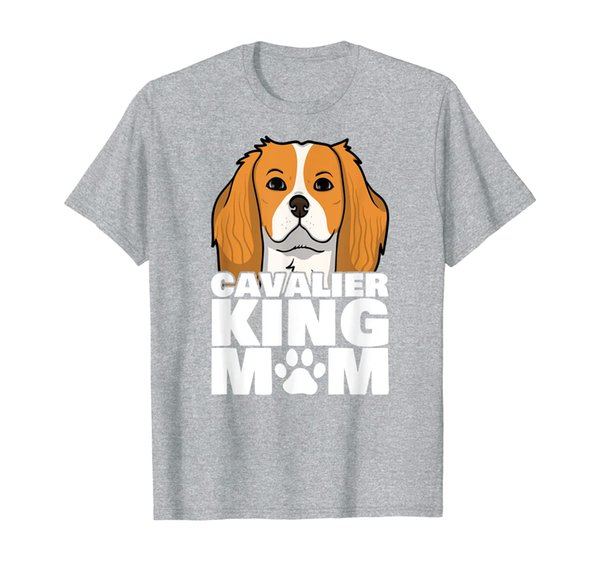 Mom Loves Her Cavalier King Charles Spaniel Dog Paw T-Shirt