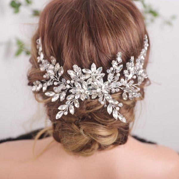 Bridal Vintage Silver Full Rhinestones Big Hair Comb Bridal Shinny Pearls and Crystals Comb Headpiece Bridal Hair Piece Wedding
