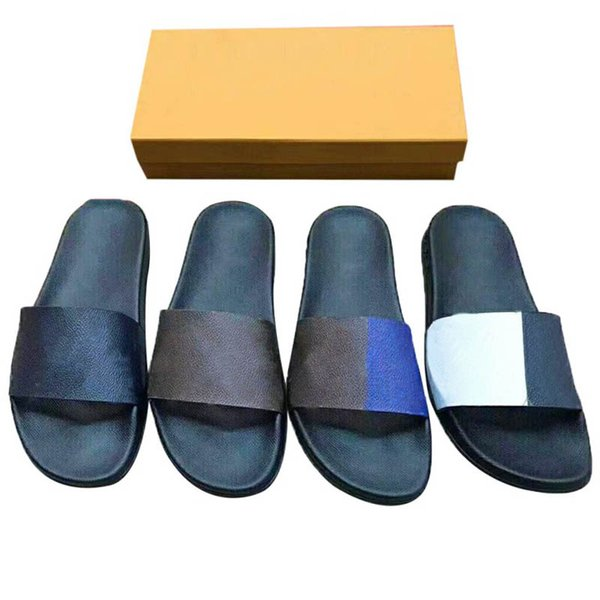 2021 men women slipper sandals slides waterfront brown leather sandal womens high heels mens slippers 35-46 with box and dust bag #LSL-01
