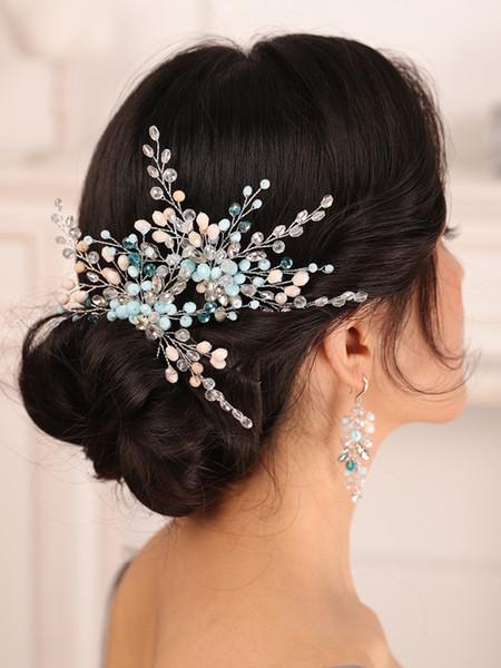 Bohe Wedding Hair Accessories Set Blue Rhinestone Crystal Bride Hair Pin and Earrings Women Hair Ornaments Bridal Headwear