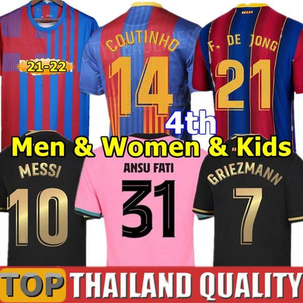 top popular 20 21 BARCA soccer jerseys Messi Barcelona 2021 ANSU FATI GRIEZMANN BRAITHWAITE PEDRI DE JONG COUTINHO Football shirt Men Women Kids Kit uniform 2021
