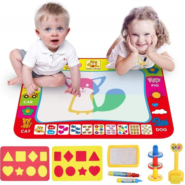 top popular 26pcs set 80x60CM Water Doodle Magic Mat Educational Water Drawing Painting Doodle Board with Pen Play Mat Toys for Children 2021