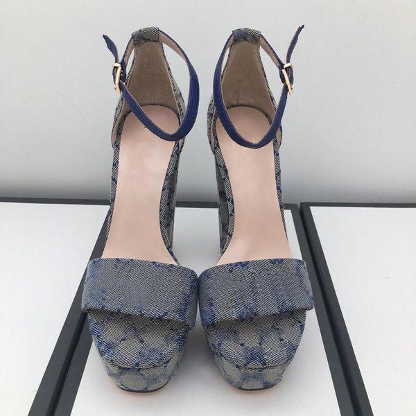top popular 2021 Fashion sandals summer women Shoe Buckle Strap heeled Platform Slides chunky Heel Rubber sole Black womens Shoes High quality sandal 34--41 2021