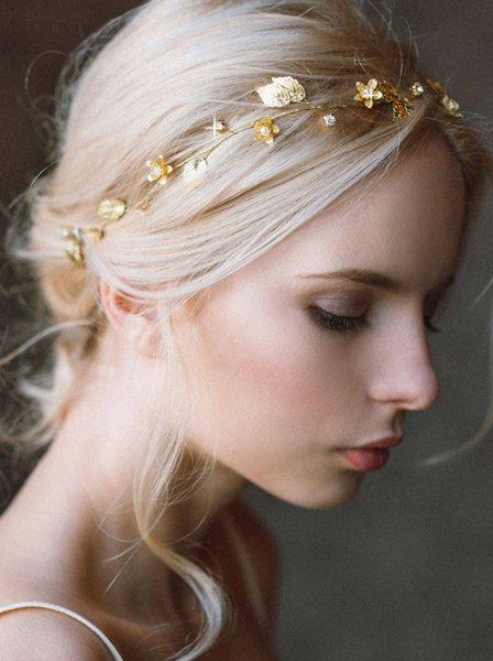 Bridal Headband Gold Leaf Wedding Headband Gold Bridal Hairpiece Gold Wedding Headpiece Headband rustic Wedding Hair Accessory