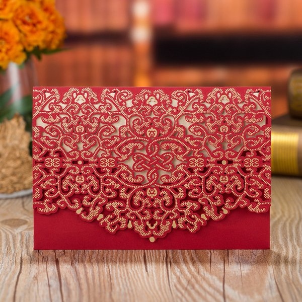 top popular 2021 Wedding Invitations Personalized Printable European Style Flora Hollow Laser Cutting Party Business Invitation Cards YC063 2021