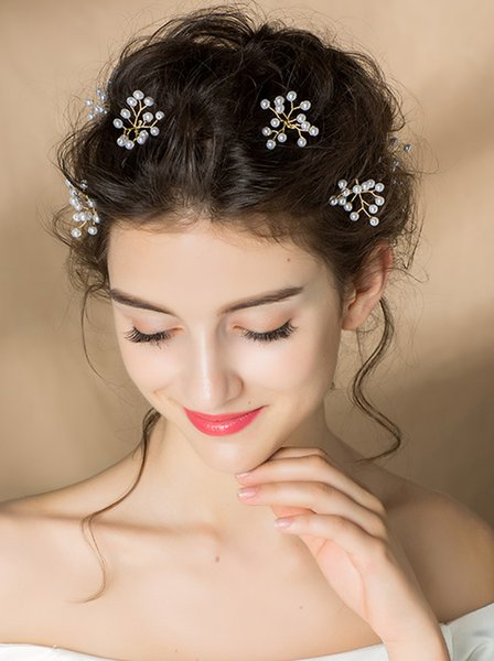 Bride Wedding Pearls Hair Pins Flower Bridal Hair Pieces Wedding Hair Accessories for Women and Girls Pack of 6