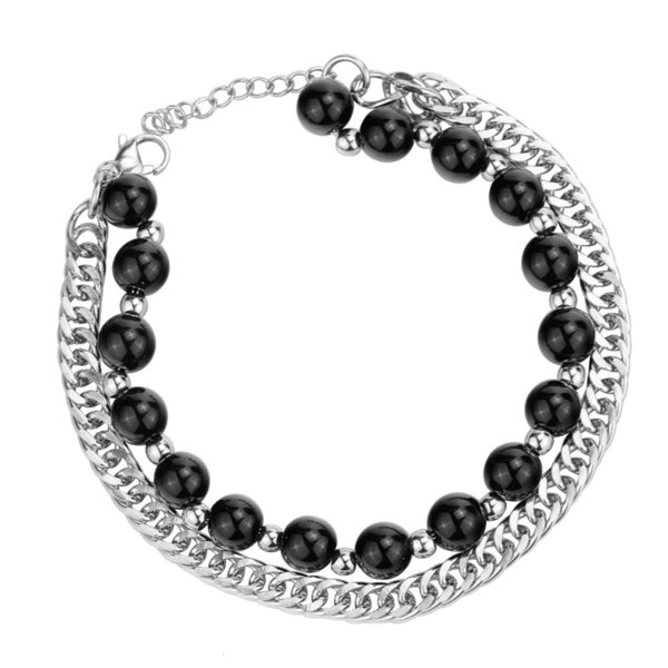 Perle noire argentée (longueur de la chaîne 20 + 3 cm