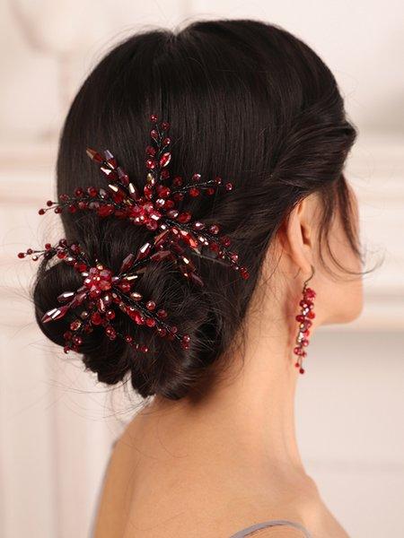 Bohe Red Black Bridal Headwear Crystal Hair pin and Earrings set Bride hair jewelry hat female wedding hair accessories