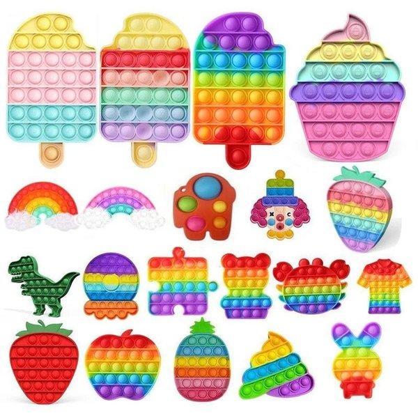top popular 30 Styles Tiktok Push Pop Bubble Fidget Sensory Toy Autism Special Needs Stress Reliever Toys Adult Kids Funny Antistress Fidget Toys DHL Fast Shipping 2021