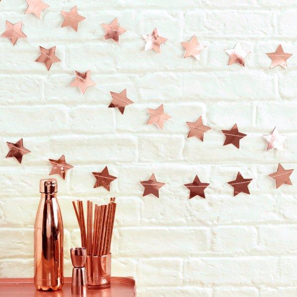 best selling Rose Gold Sparkles Banner Round Star Circle Paper Garland Birthday Party Decoration Supplies Wedding Hanging Garland