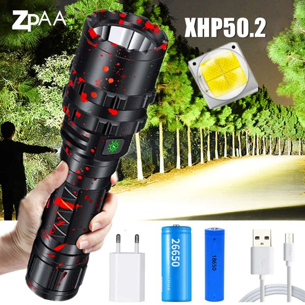 top popular High Lumens Xhp50.2 L2 LED Rechargeable Flashlight USB LED Tactical Flashlight 5 Modes 18650 26650 Torch for Camping Hunting 201207 2021