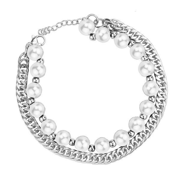 Perle blanche argentée (longueur de la chaîne 20 + 3 cm