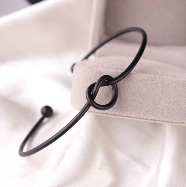Bangle Metal Zinc Alloy Rose Gold Color Tie Knot Bracelet Bangles Fashion Simple Cuff Open Bracelets 4 Colors Adjustable Size For Women G0JA PPDL