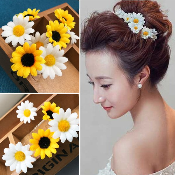 5Pcs/Set Daisy Flower Hair Pins Darling Wedding Hair Clip Bridal Hair Jewelry Hairwear Beach Holiday Event Party Decoration