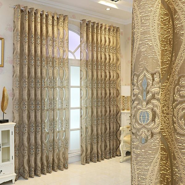 top popular Embroidered Gold Sheer Curtains For Living Room Jacquard Floral Elegant Tulle Parlor Villa Sliding Door Window Treatment Drapes Curtain & 2021