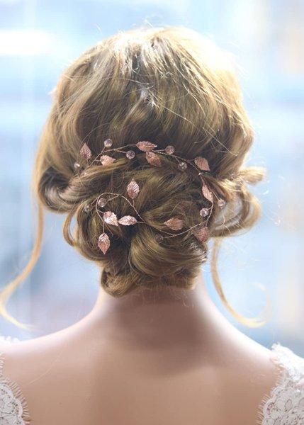 Bridal Headband Rose gold Headband Fashion Headwear Leaves Handmade Headdress for Bride to be Tiara Wedding Bridal Hair band