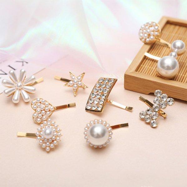 Crystal Handmade Hairpins For Women Barrette Hair Styling Accessories Fashion Imitation Pearl Bowknot Flower Mini Hair Clips