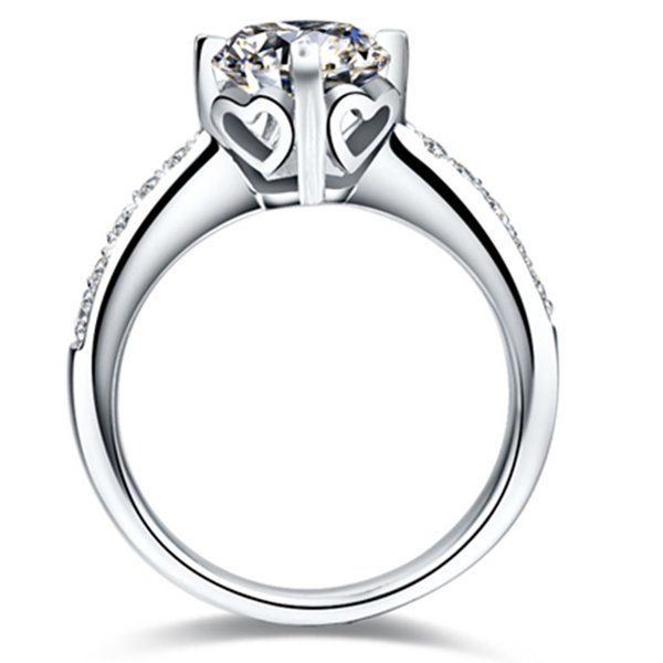 1CT Heart Pattern Prongs Setting NSCD Simulated Diamond Ring Engagement for Women Genuine Silver 925 Anniversary Jewelry PT950 Stamped
