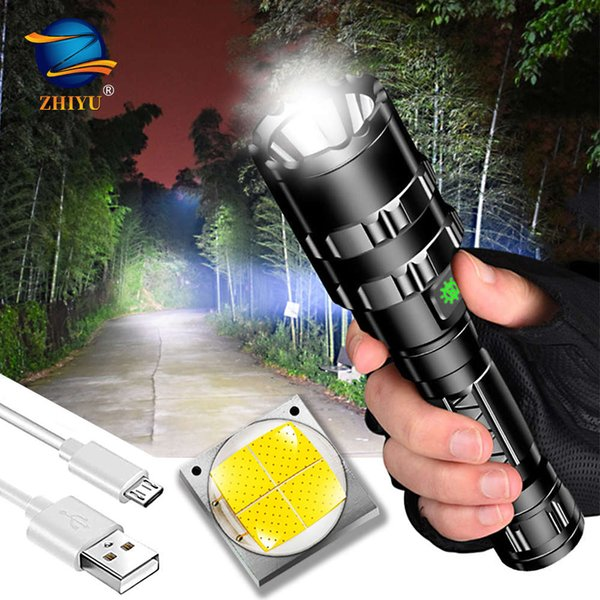 top popular ZHIYU Rechargeable tactical LED flashlight 8000LM LED L2 Tactical Torch Super Bright Hunting light Waterproof for 18650 battery 201207 2021