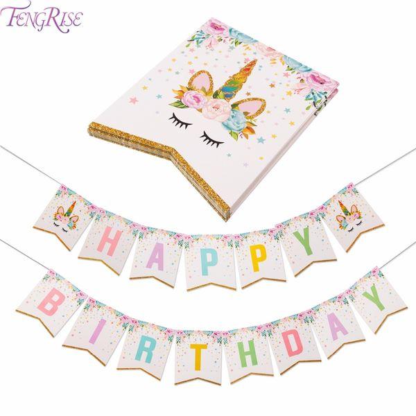 top popular Unicorn Party Decoration Happy Birthday Banner Kids Favors Baby Shower Balloons Cake Topper Unicorn Birthday Supplies 2021
