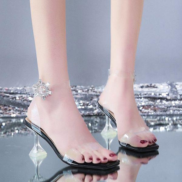 Women Sandals Sexy Transparent PVC Woman Sexy Shoes Summer Ladies Square Toe Pumps Party Plus Size Woman Fashion 2021 New
