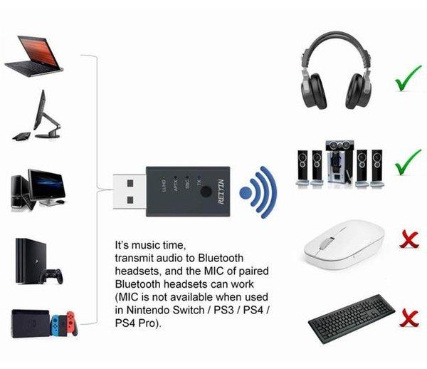 Adattatore audio video portatile AD AUDIO ADAPTER USB APTX APTX HD CSR8675 Bluetooth 5.0 Adattatore per scheda audio 5.0 per PC Laptop Game Dispositivo