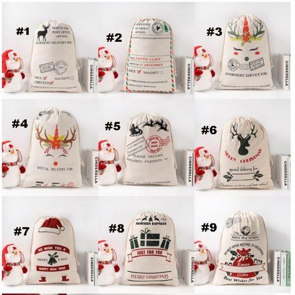 best selling New Year Gift Santa Sacks Personalized Large Santa Claus Bag Custom Christmas Canvas Gift Bags Drawstring Cotton Sant