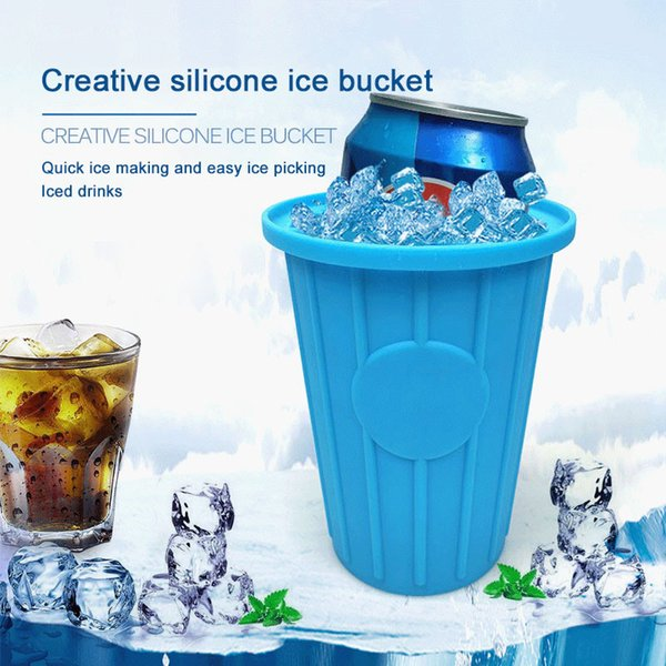 Silicone Ice Cube Maker Portable Ice Bucket Wine Ice Cooler Beer Whiskey Freeze Cabinet Space Saving popsicle mold Kitchen Tools