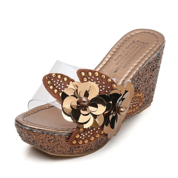 platform slippers wedge slides slippers women summer shoes beach sandals slippers ladies shoes with heels pearl flower 2021