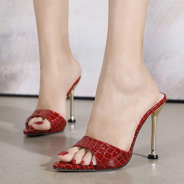 2021 Women Slippers Fashion Thin High Heels Sexy Sandals Snake Slippers Metal Heels Slippers Shoes For Woman High Heels Slides