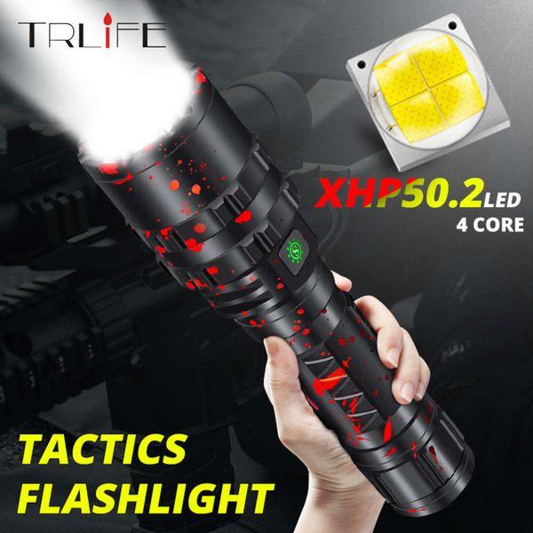 best selling Tactical Flashlight Powerful XHP50.2 LED Flashlight Xlamp Aluminum Hunting L2 Waterproof 18650 26650 Torch Lanterna 201207